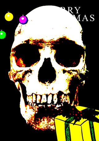 Pop-art-version-of-a-real-human-skull-with-merry-christmas-text-michael-ledray